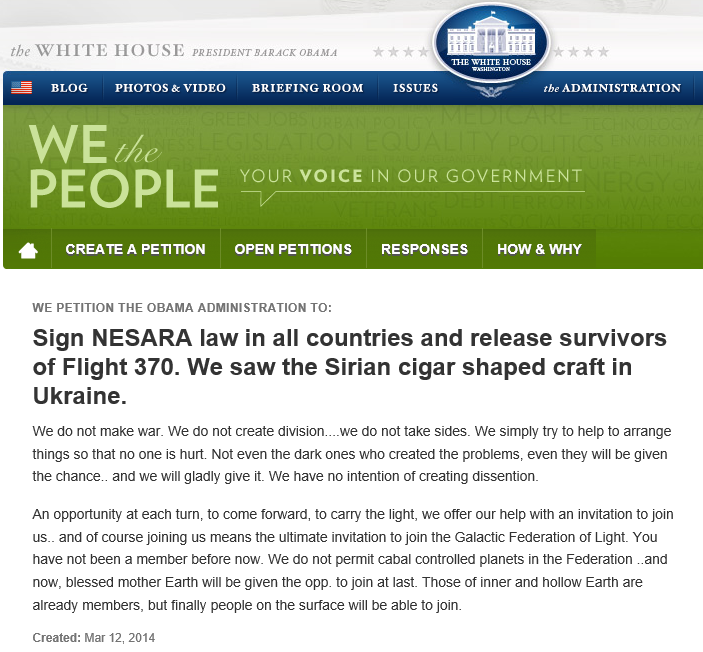 ... Petition to Obama administration: Sign NESARA law in all countries and